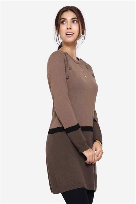 Brown striped nursing dress with dark brown skirt and buttons, front view