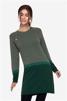 Striped green nursing dress with buttons, front view