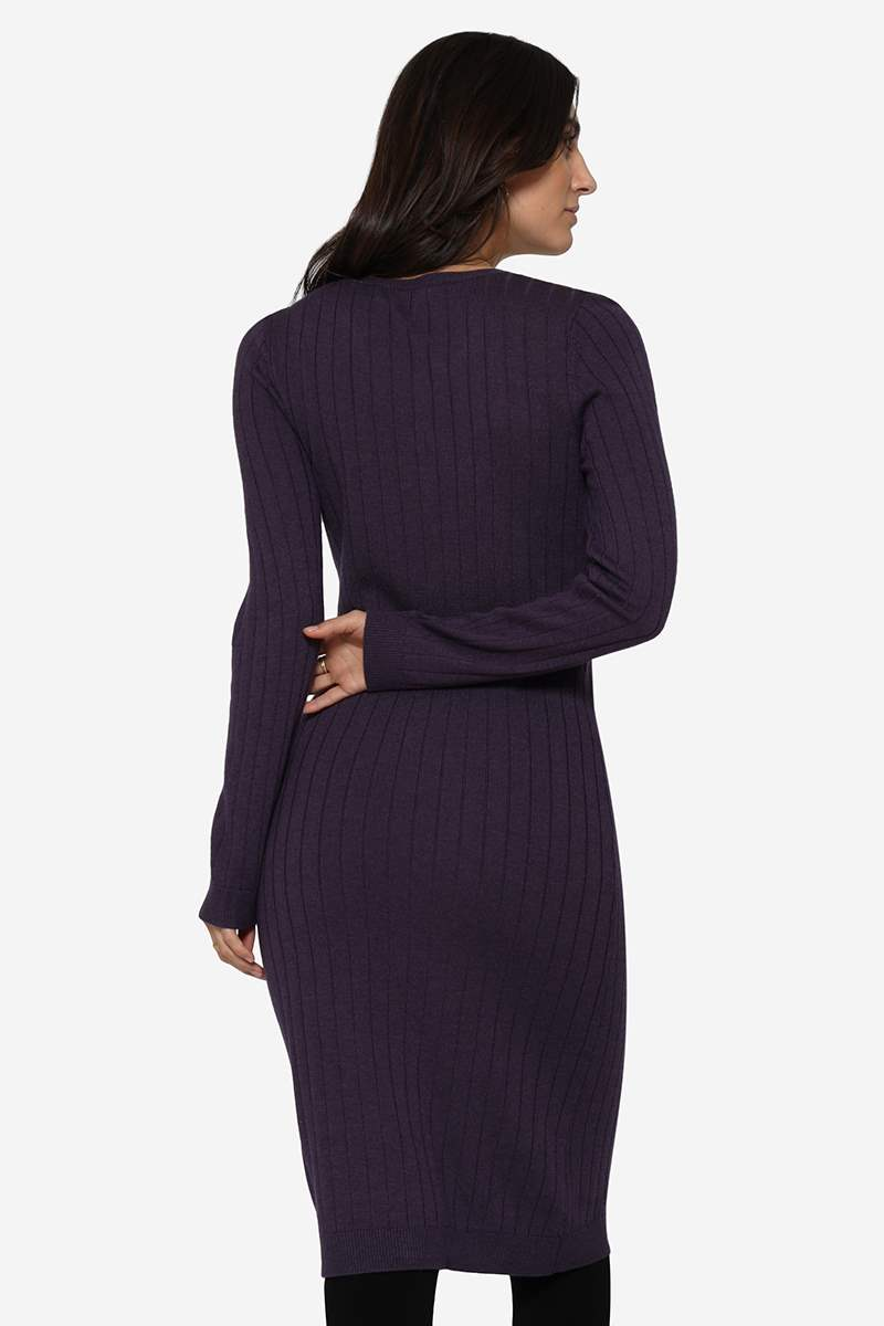 Purple breastfeeding dress in Merino wool and rib knit and beautiful V-neck - Seen from behind