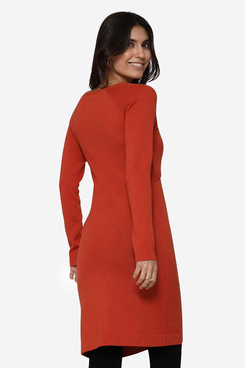 Orange nursing dress with long sleeves and round neck in Merino wool - Seen from behind