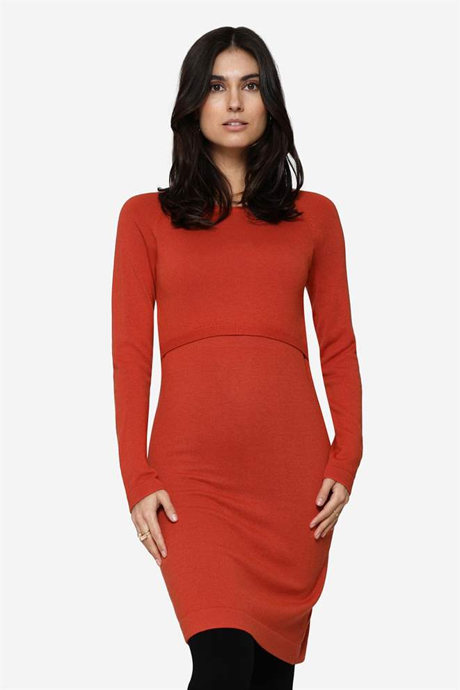 Orange nursing dress with long sleeves and round neck in Merino wool - Front view