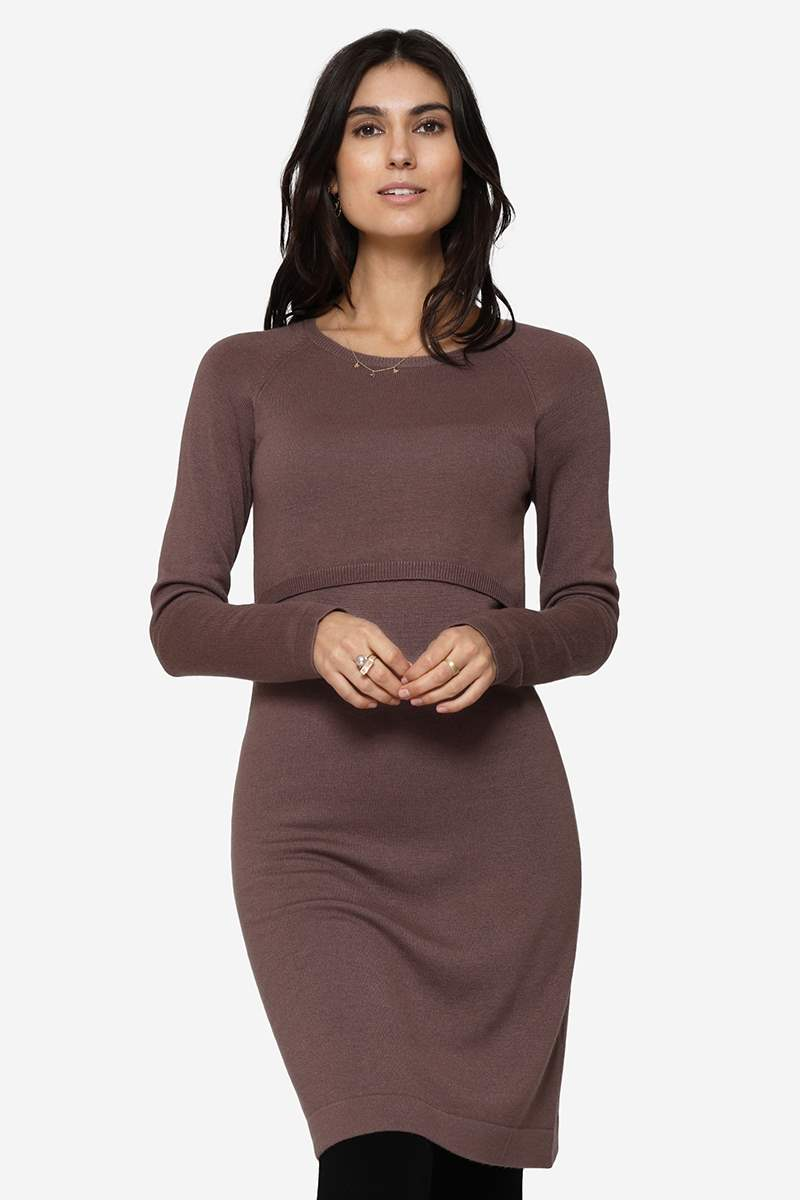 Brown long sleeved nursing dress made of wool - Front view