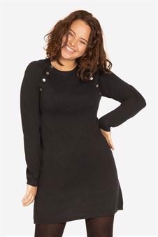 Black nursing dress with buttons. Made of wool/viscose knit - On plus size model