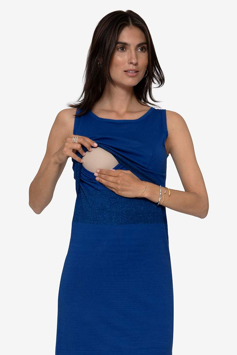 Blue nursing dress with slim waistline in Organic cotton, with breastfeeding access