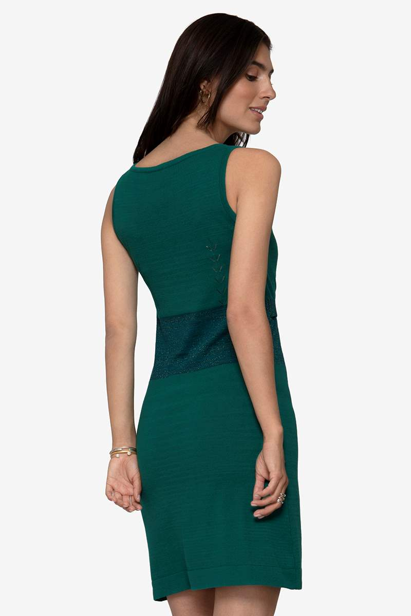 Green nursing dress - sleeveless dress in organic cotton knit, seen from behind