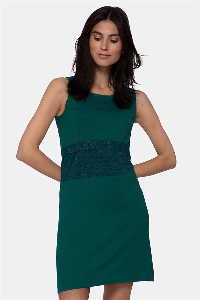 Green nursing dress - sleeveless dress in organic cotton knit, front view