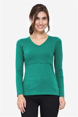 Organic nursing top with a classic wrap look in green - Frontview
