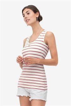 White nursing top with coral stripes and wide straps in organic cotton - Front view