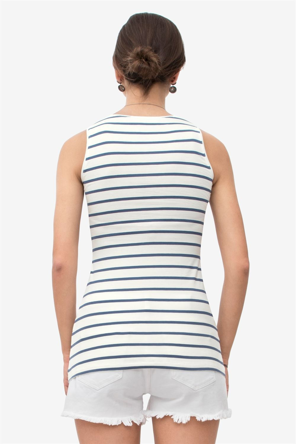 White nursing top with dark blue stripe in soft organic cotton - Seen from behind