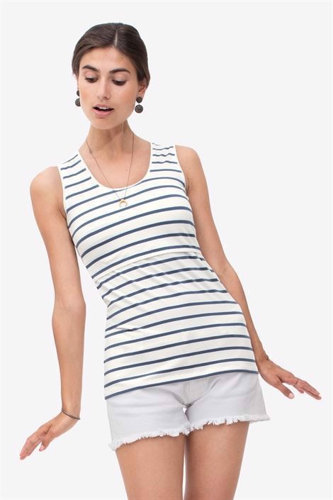 White nursing top with dark blue stripe in soft organic cotton - Front view