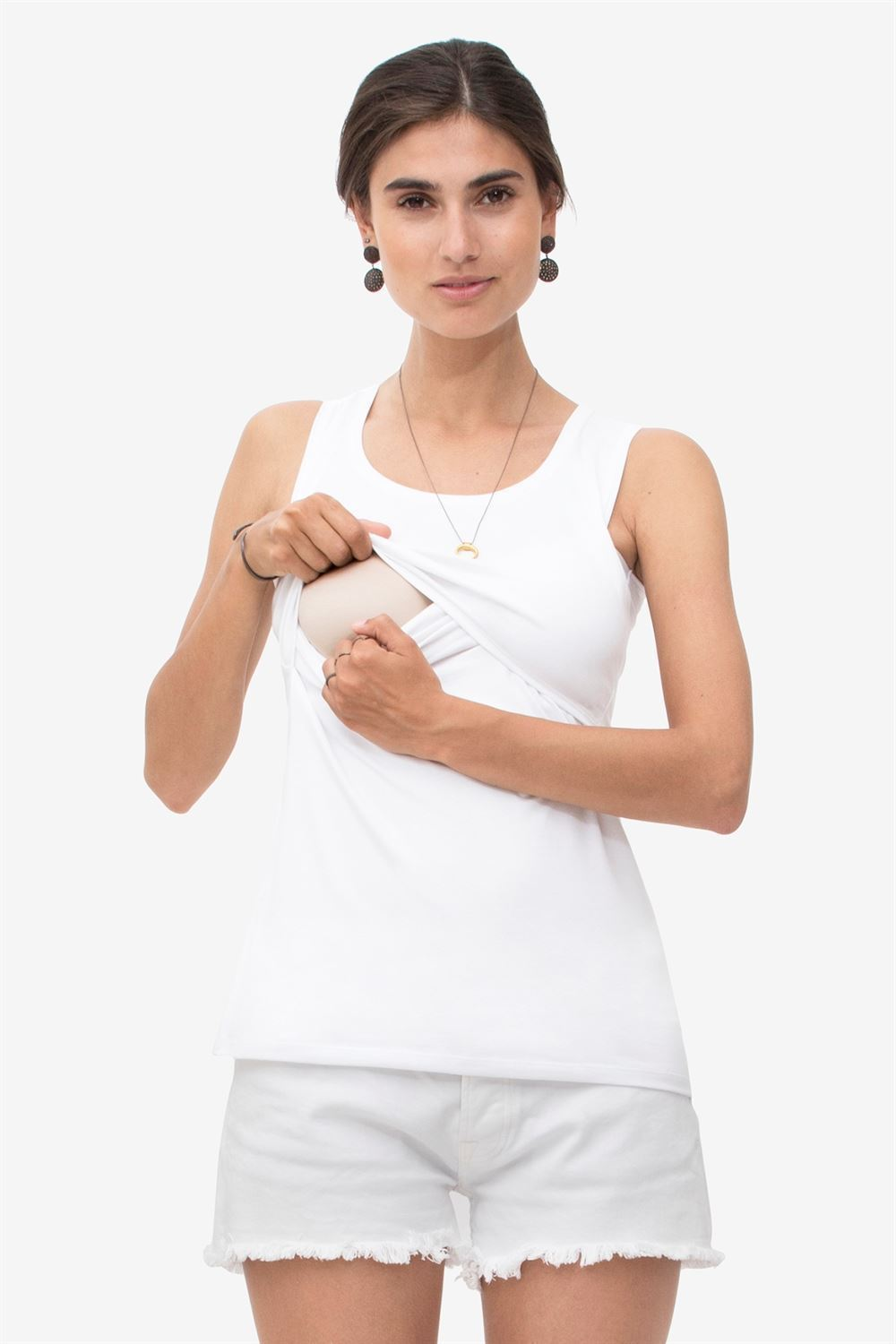 White nursing top with a deep round neck and wide straps - Access for breastfeeding