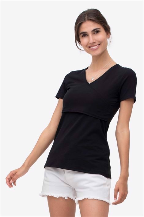 Black nursing top - short sleeved wrap-around model - front