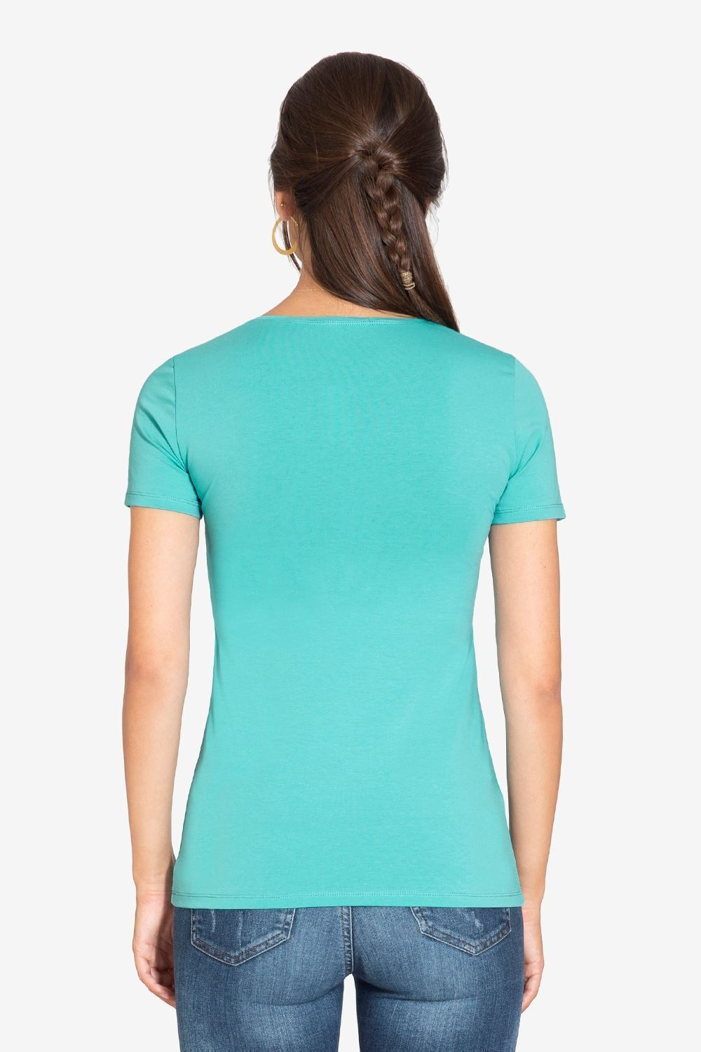 Turquoise Green short sleeved nursing Top  - seen from behind