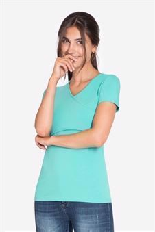 Turquoise Green short sleeved nursing Top  - front view