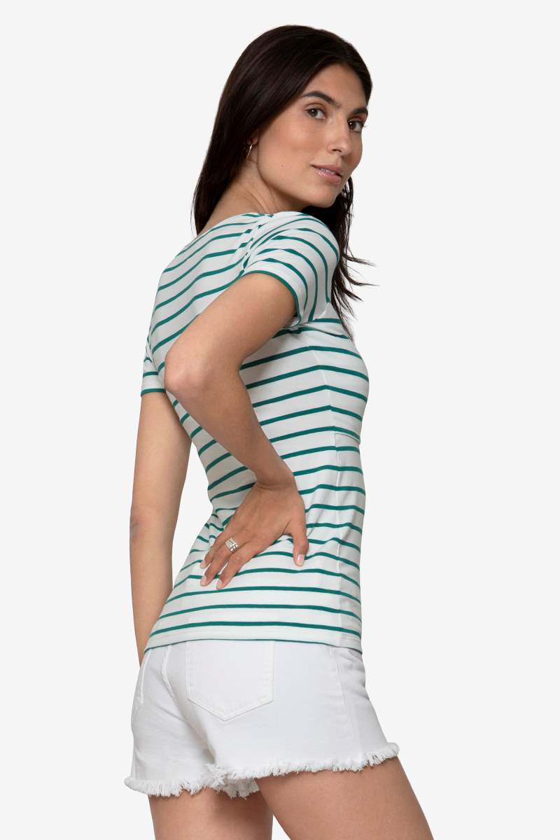 Maternity & Nursing Top with green stripes in organic cotton, seen from behind