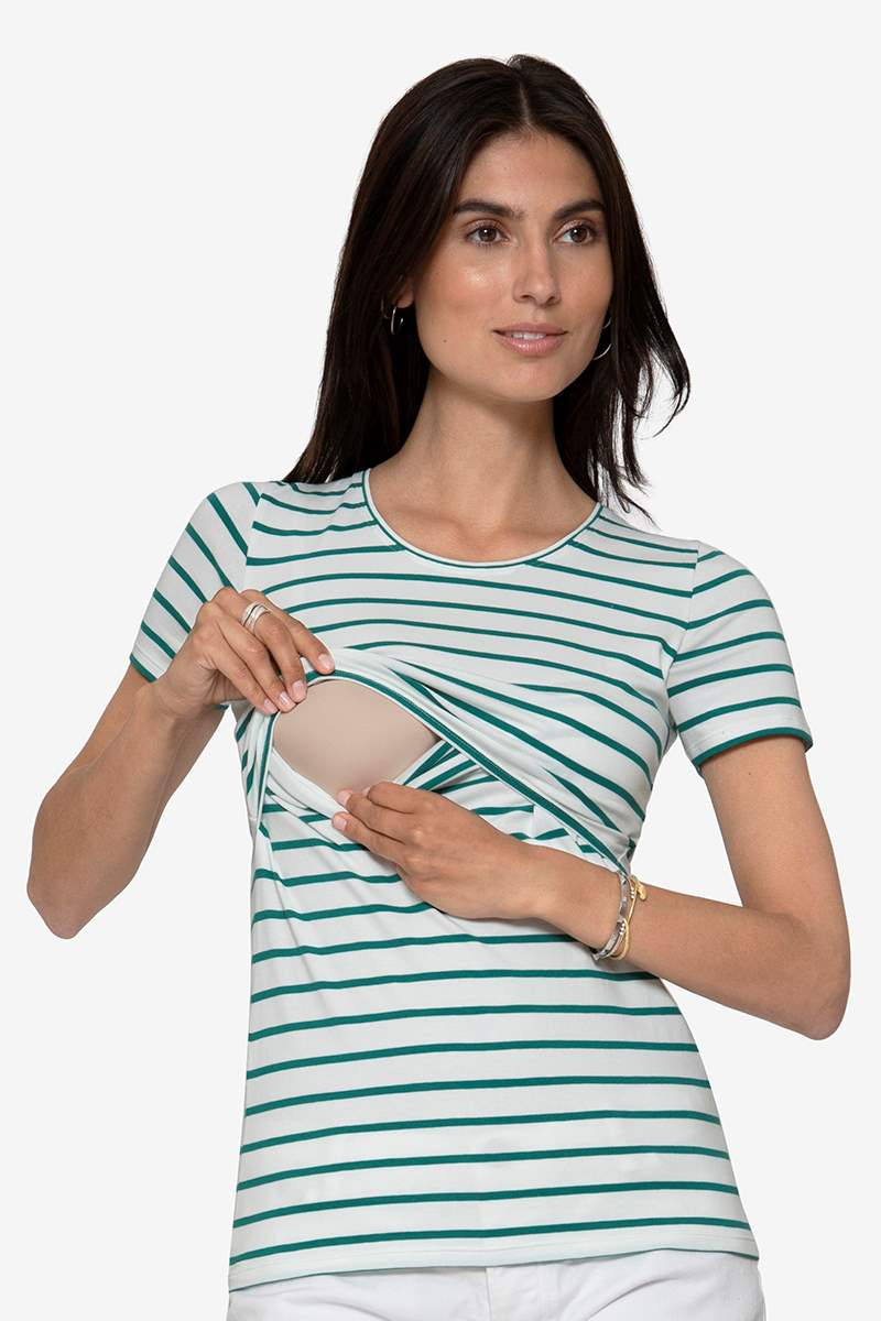 Maternity & Nursing Top with green stripes in organic cotton, breastfeeding access