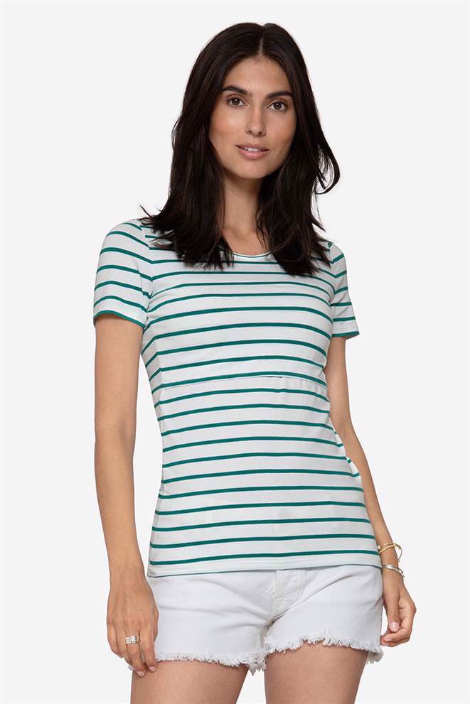 Maternity & Nursing Top with green stripes in organic cotton, front view
