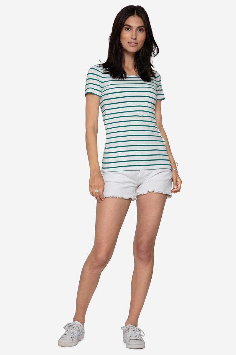 Maternity & Nursing Top with green stripes in organic cotton, full figur