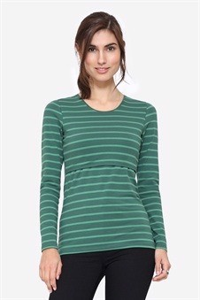 Green nursing blouse with green stripes, front view