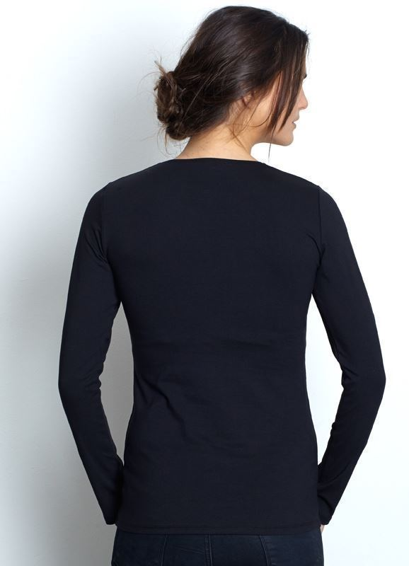 Black classic nursing top made of organic cotton - Seen form behind