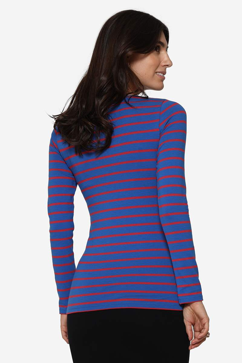 Blue/red striped breastfeeding blouse in organic cotton - Seen from behind