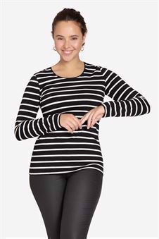 Black and white Striped maternity blouse - classic T-shirt model - Front view