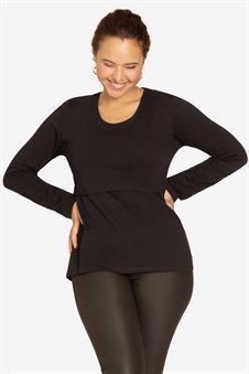 Black classic nursing top made of organic cotton - seen for side
