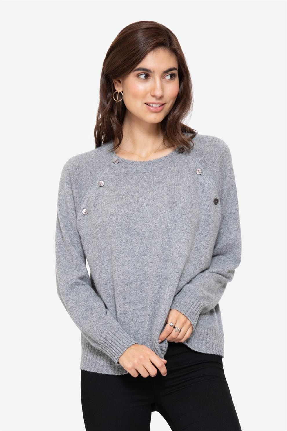 Grey soft cashmere nursing jumper with buttons, front view