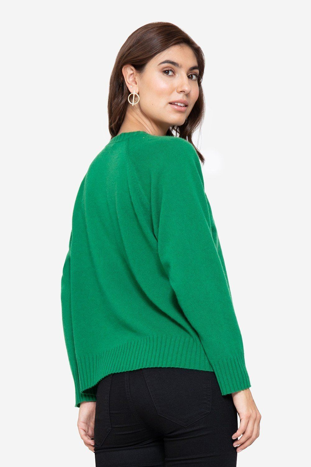 Soft green cashmere nursing jumper with buttons access, back view