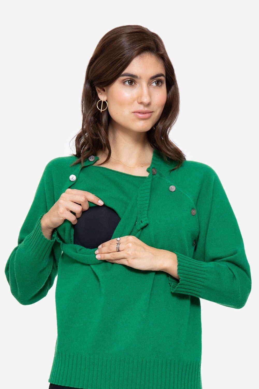 Soft green cashmere nursing jumper with buttons access, for breastfeeding