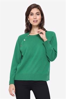 Soft green cashmere nursing jumper with buttons access, front view