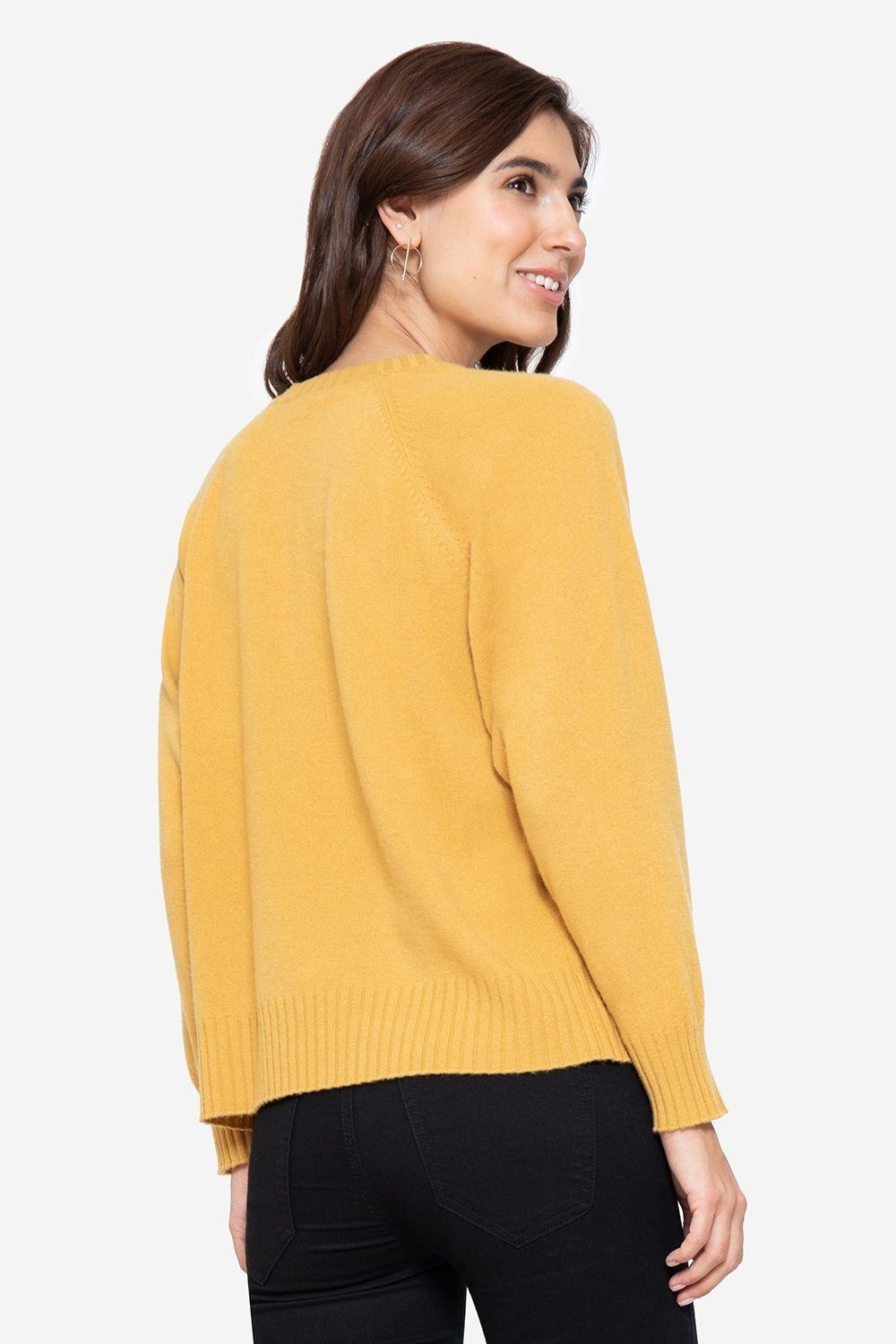 Soft cashmere nursing jumper in yellow with buttons, back view