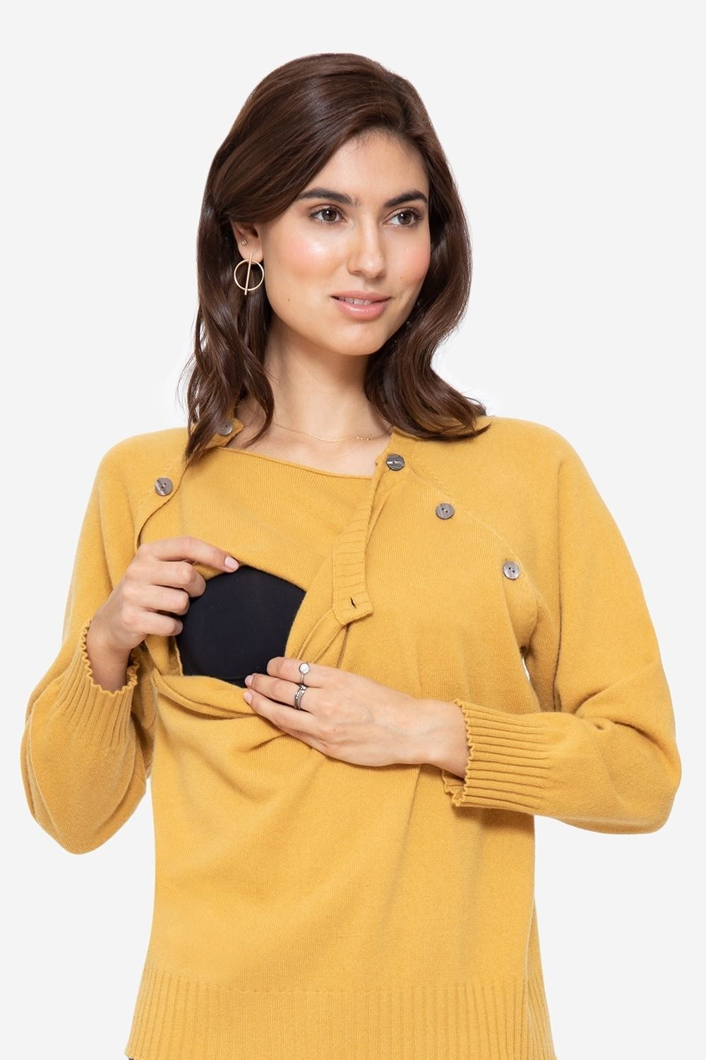 Soft cashmere nursing jumper in yellow with buttons, access for breastfeeding