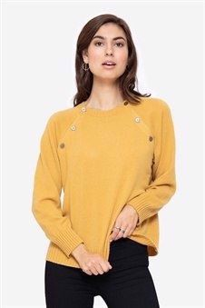 Soft cashmere nursing jumper in yellow with buttons, front view