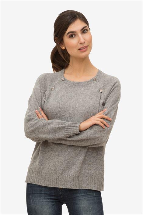 Grey Soft Cashmere Nursing Pullover Nursing Clothes
