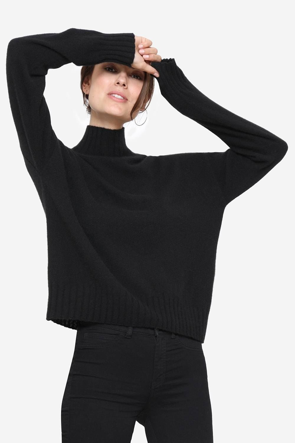 Black cashmere nursing sweater with small collar, front view