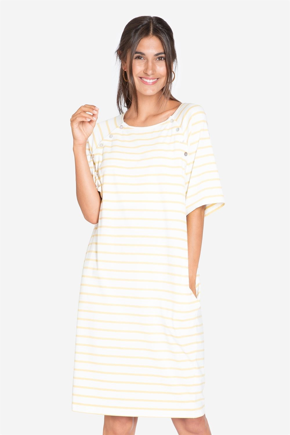 Loose yellow stribed breastfeeding dress - front view