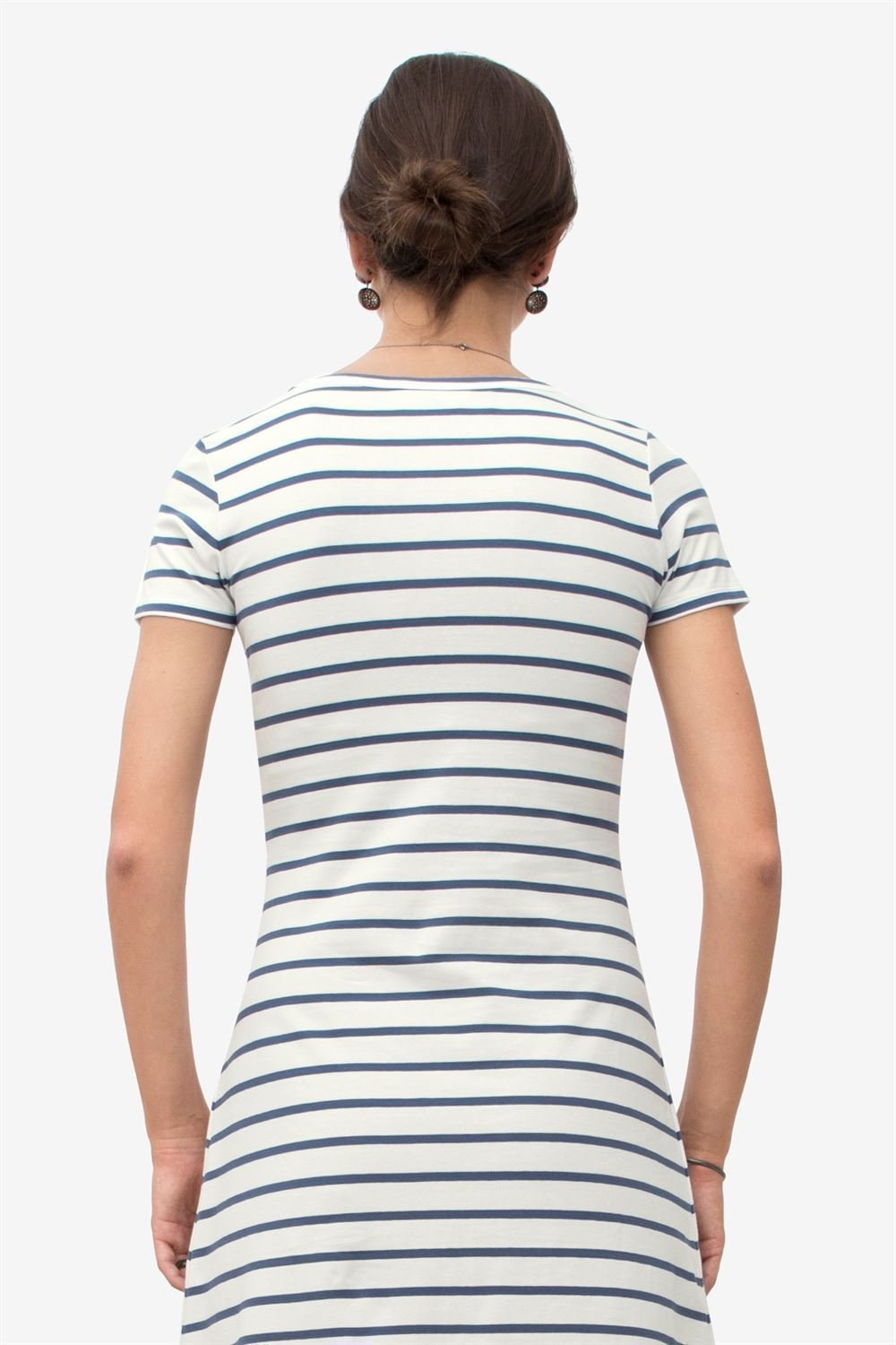 Blue striped Maternity & Nursing dress with short sleeves in organic cotton - Seen from behind