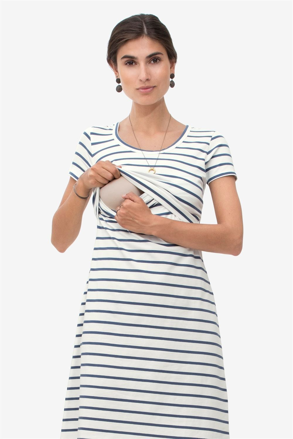 Blue striped nursing dress with short sleeves in organic cotton - Access fro breastfeeding