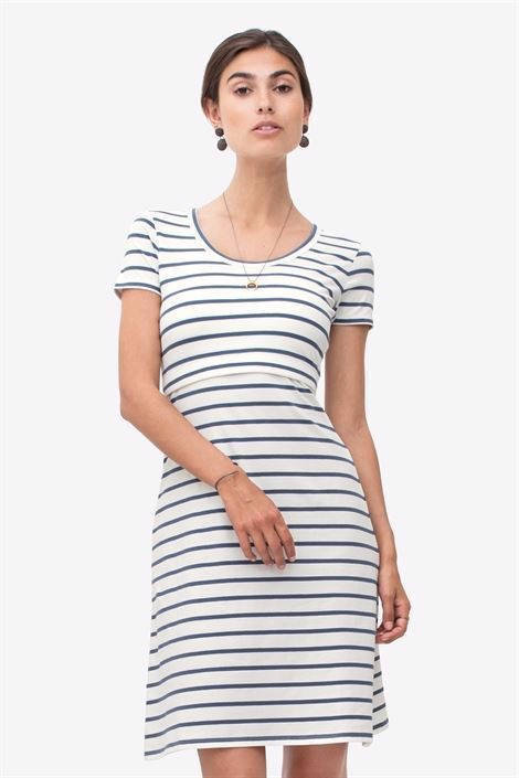 Blue striped Maternity & Nursing dress with short sleeves in organic cotton - Front view