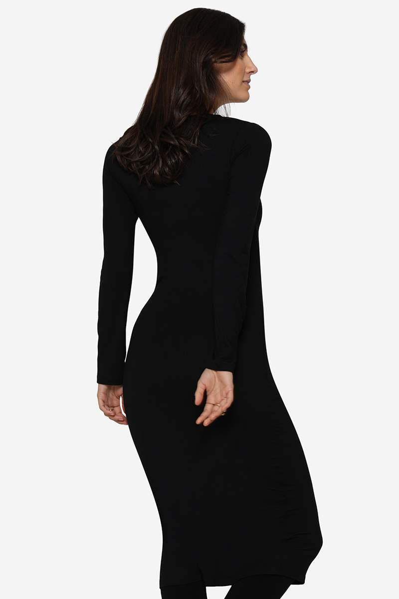 Slim fit black nursing dress in soft organically grown bamboo - seen from the back