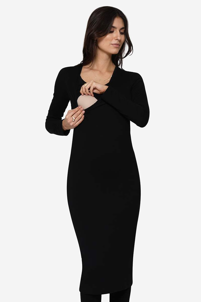 Slim fit black nursing dress in soft organically grown bamboo - seen with breastfeeding access
