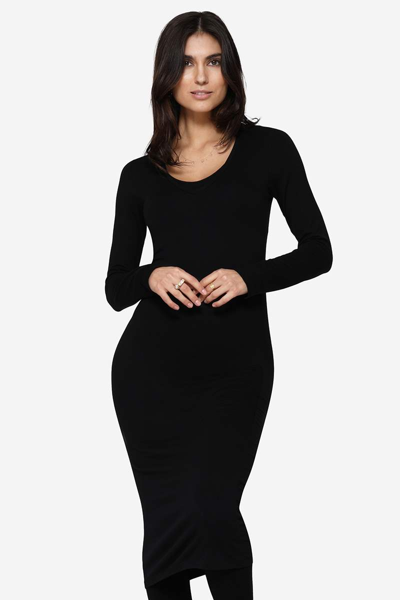 Slim fit black nursing dress in soft organically grown bamboo - Front view