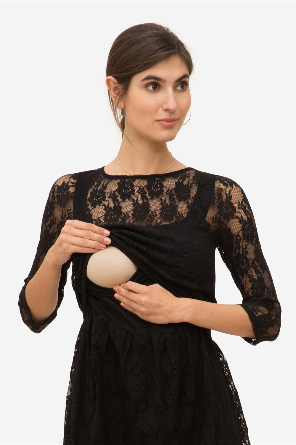 Black Lace nursing dress with Underdress, access fro breastfeeding