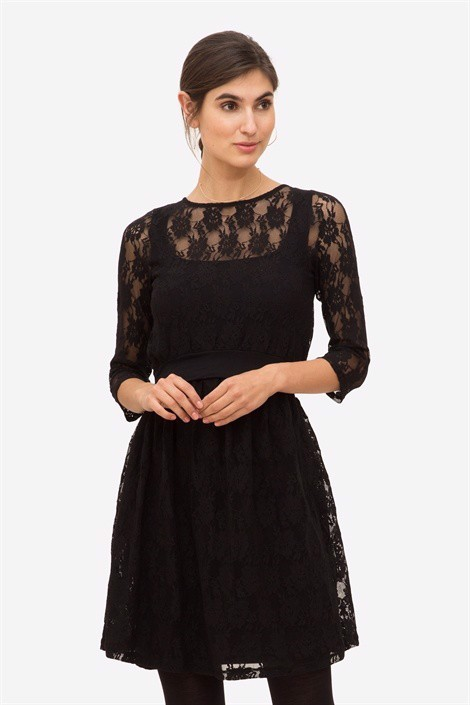 Black Lace nursing & maternity  dress with Underdress - On plus size model