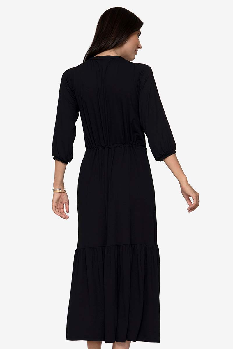 Black bohemian nursing dress in Organic bamboo- seen from back
