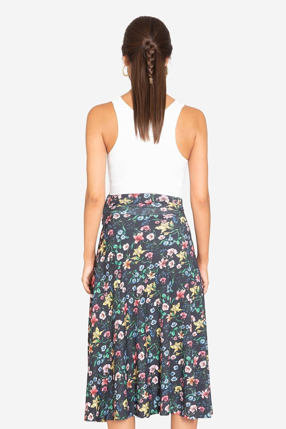 Black floral pregnancy skirt - seen from back