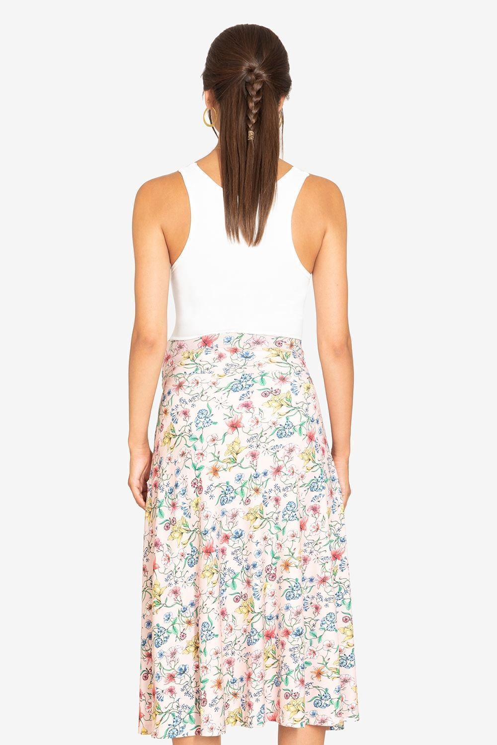 Pink floral maternity skirt - from back