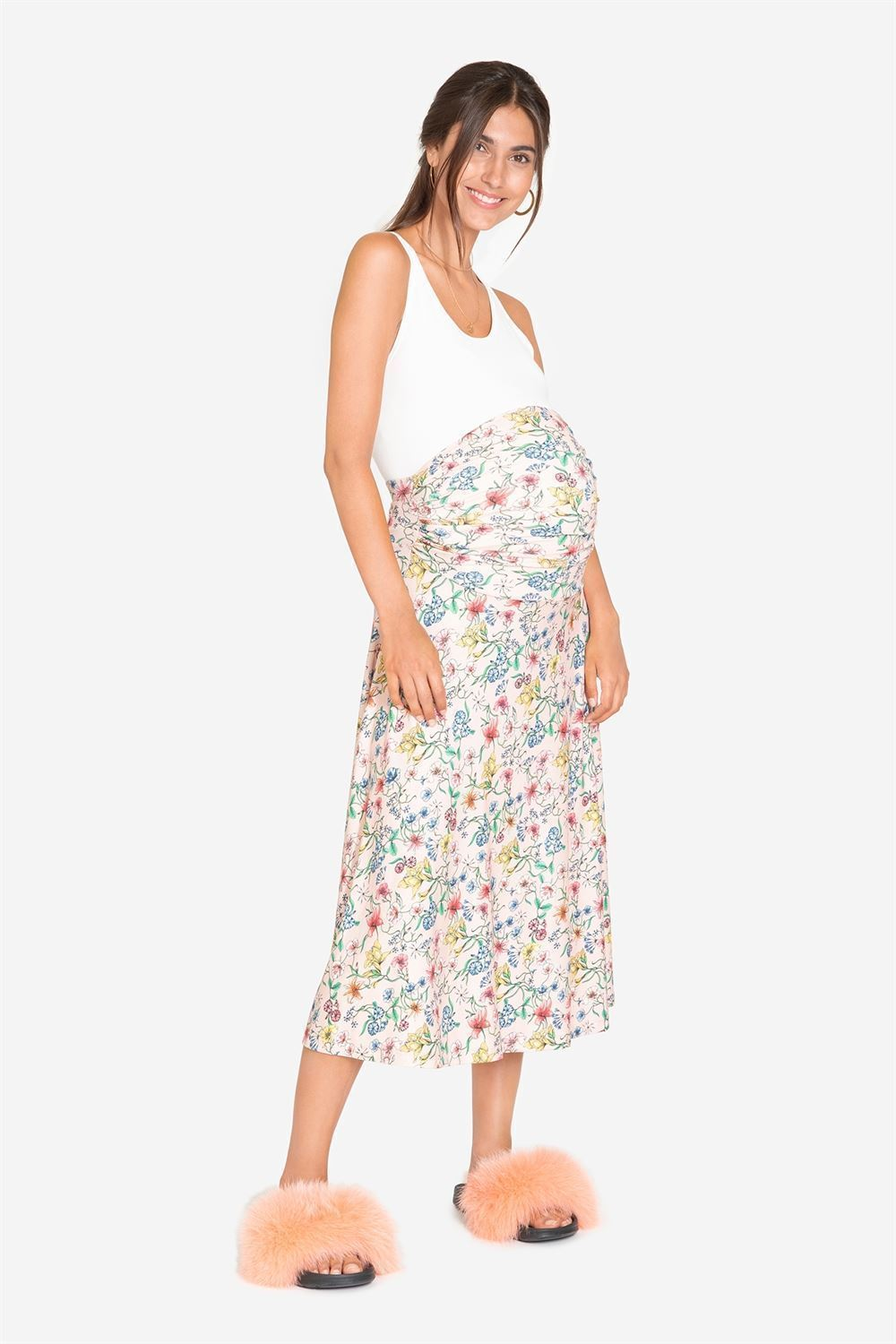 Pink floral maternity skirt - full figur