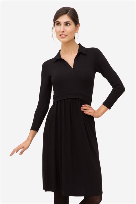 Black nursing dress with a stylish shirt-collar - Front view